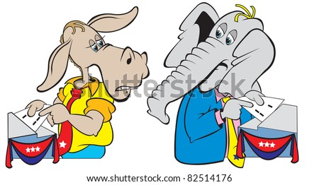 cartoon art of the donkey and elephant at the voting polls putting in their ballot.