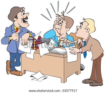 cartoon art of two salesmen meeting with boss to discuss sales ups and downs and the boss is not taking it too good.