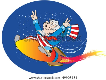 cartoon art of Uncle Sam riding on a rocket and is celebrating the Fourth of July Holiday. background can be removed.