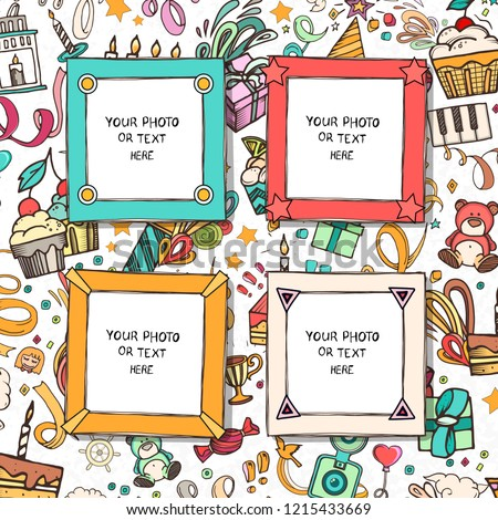 Cartoon Art Styles. Decorative birthday vector template frames. These photo frames you can use for kids picture, funny photos, card and memories. Scrapbook design concept. Insert your picture.