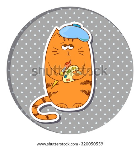 cartoon artist cat on dots