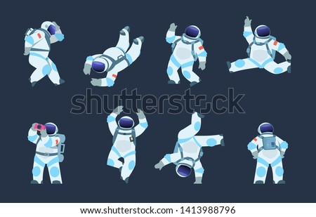 Cartoon astronaut. Dancing party cosmonaut, retro disco spaceman, comic space dancer. Vector comics astronaut illustration in different poses