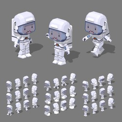Cartoon astronaut minifigure. 3D lowpoly isometric vector illustration. The set of objects isolated against the grey background and shown from different sides