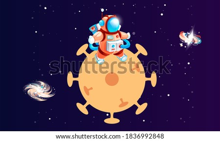 cartoon astronaut on planet in