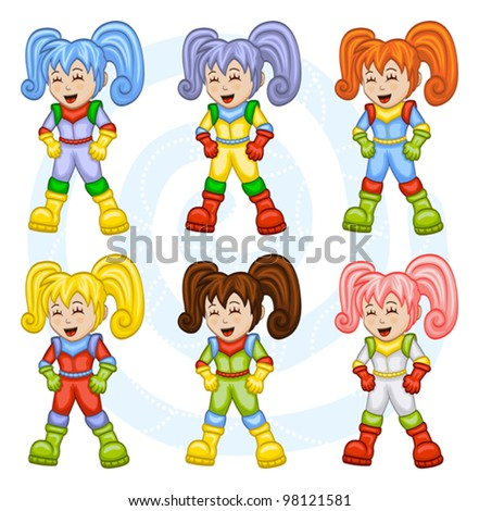 Cartoon astronauts-girls - stock vector