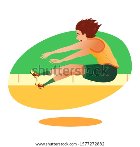 Cartoon athletics long jumper sportsman character taking part in competition. Summer games athlete triple jump on distance. Sporting championship events. Vector flat sport people illustration