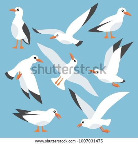Cartoon atlantic seabird, seagulls flying in blue sky. Sea, Ocean, Gull, bird in a vector flat style