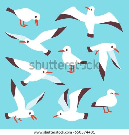 Cartoon atlantic seabird, seagulls flying in blue sky vector set.