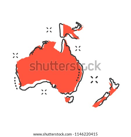 Cartoon Australia and Oceania map icon in comic style. Australia and Oceania illustration pictogram. Country geography sign splash business concept.