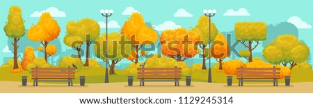 Cartoon autumn park panorama. Autumnal city parks road street with yellow and red trees outdoor walkway bench. Fall street tree path panoramic landscape september colorful vector background