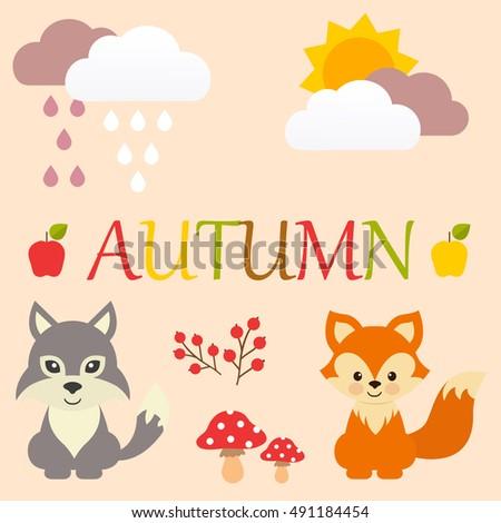 cartoon autumn set with fox and