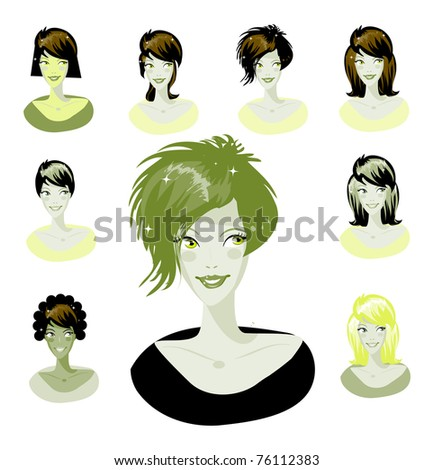 Cartoon avatar various girls faces - one of a series of similar images woman collection