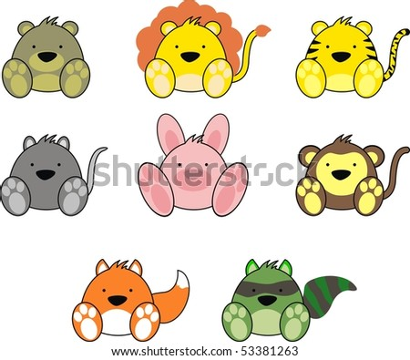 stock vector : cartoon baby animals in vector format