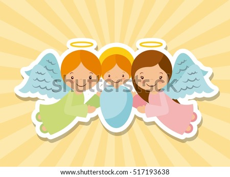 cartoon baby jesus with angels