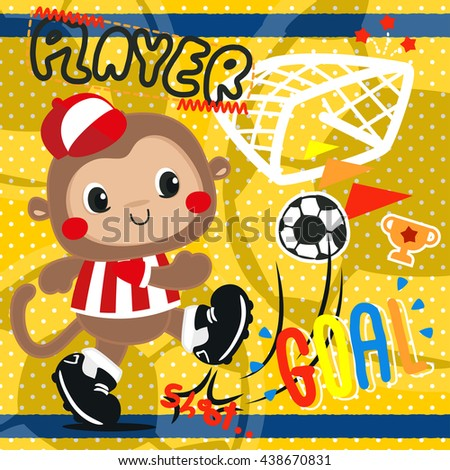 cartoon baby monkey in soccer