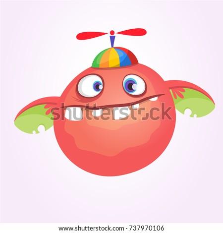 Cartoon baby monster in funny children hat with propeller. Vector illustration