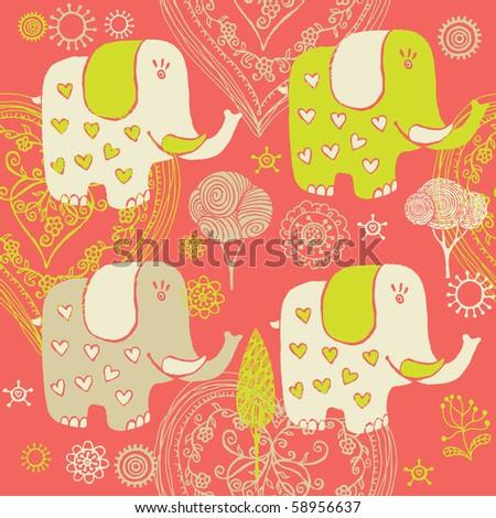 Cartoon baby pattern with elephant