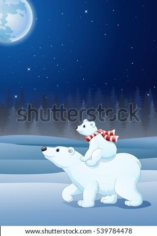 cartoon baby polar bear riding