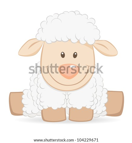 Stock Photo Cartoon baby sheep funny illustration