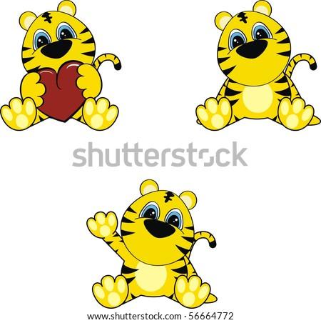 cartoon baby tiger in vector format very easy to edit