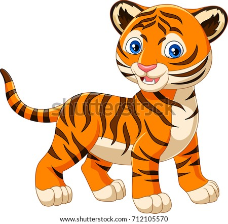 cartoon baby tiger isolated on