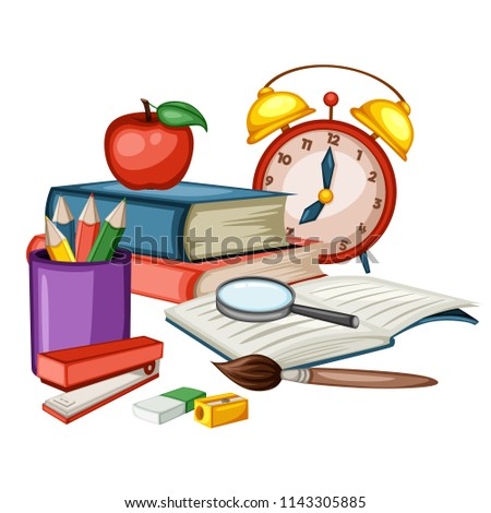 Cartoon Back to School Concept, Alarm Clock, Books, Pencil Box, Copybook, Stapler, Paintbrush, Eraser Vector Illustration Isolated on White Background. Set of School Stationery Tools, Office Supplies