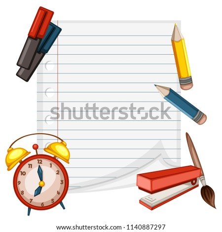 Cartoon  Back to School Concept. Copybook Paper with Alarm Clock, Markers, Pencils, Stapler and Brush Vector Illustration Isolated on White Background. Set of School Stationery Tools, Office Supplies