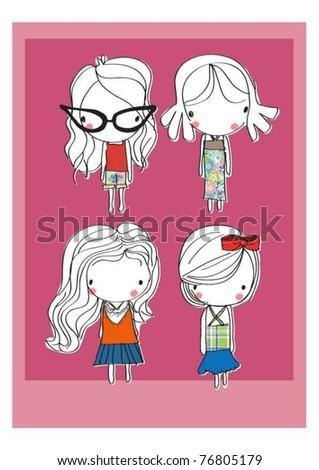 cartoon background cute girls kids