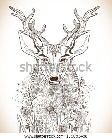 Cartoon background with deer and flowers, hand drawn beautiful illustration
