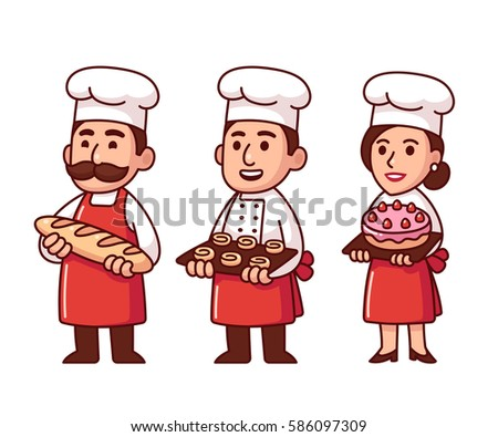 Cartoon baker characters set in uniform with bread, buns and cake. Cute male and female chefs.