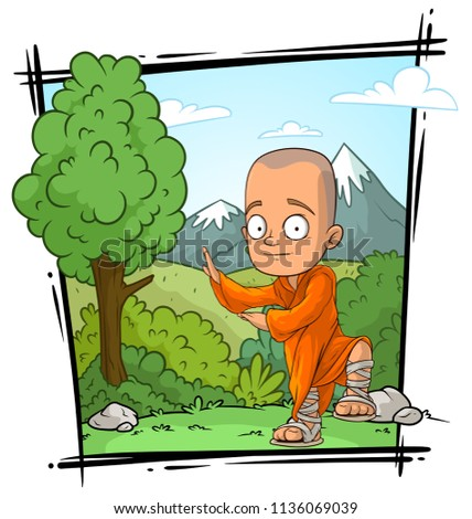 Cartoon bald buddhist monk character in orange robe on nature landscape background