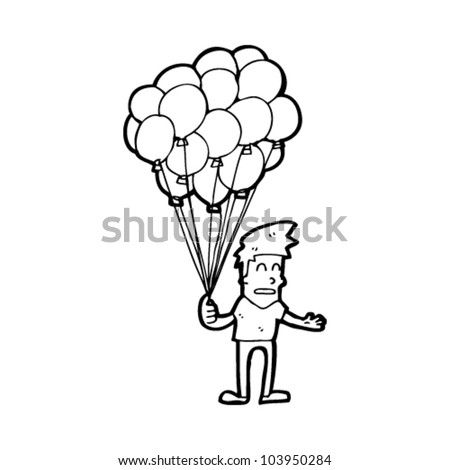 Balloon Seller Drawing Cartoon Balloon Seller