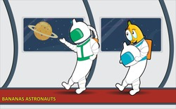 Cartoon bananas astronauts conquer not only space, but also other unknown region and the territory where you would send them)