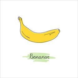 Cartoon bananas. Doodle. Yellow fruits, one banana, a bunch of bananas. Hand-drawn. Tropical fruits, banana snack or vegetarian nutrition. Lines. Isolated vector illustration icons set.