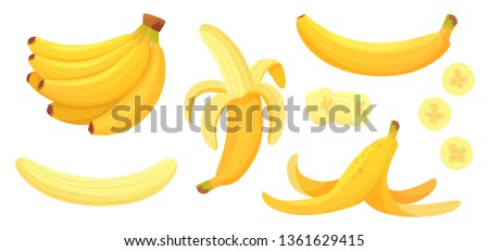 Cartoon bananas. Peel banana, yellow fruit and bunch of bananas. Tropical fruits, banana snack or vegetarian nutrition. Isolated vector illustration icons set