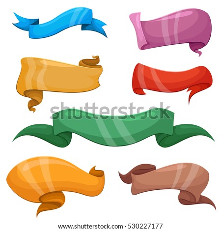 Cartoon banners and comic ribbons vector set. Colored banner ribbon, blank banners collection illustration