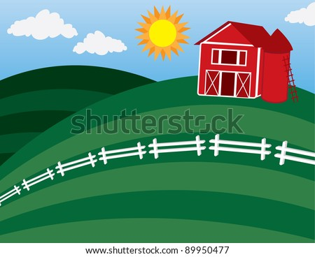 Cartoon barn on a large hill with white fence