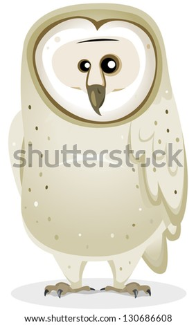 Cartoon Barn Owl Character/ Illustration of a funny cute cartoon barn owl bird character standing