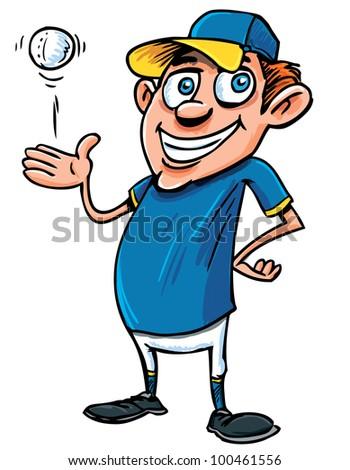 Cartoon Baseball player with a ball. Isolated