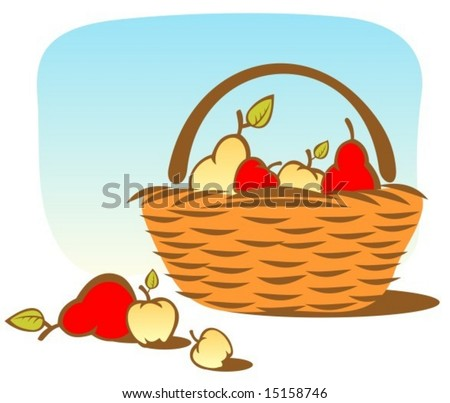 stock vector : Cartoon basket with apples and pears on a sky background.
