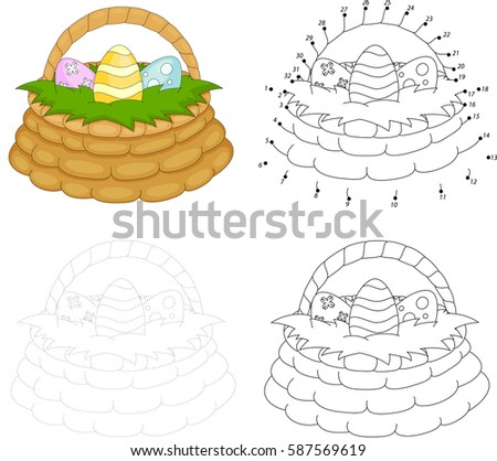 cartoon basket with easter eggs