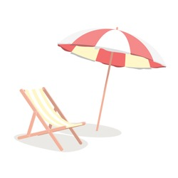Cartoon Beach Travel Resort Umbrella and Chair Concept Isolated on a White Background Element Flat Design Style. Vector illustration