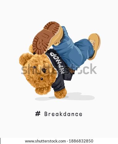 cartoon bear doll in hip hop t shirt break-dancing illustration