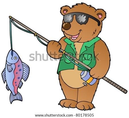cartoon bear fisherman   vector
