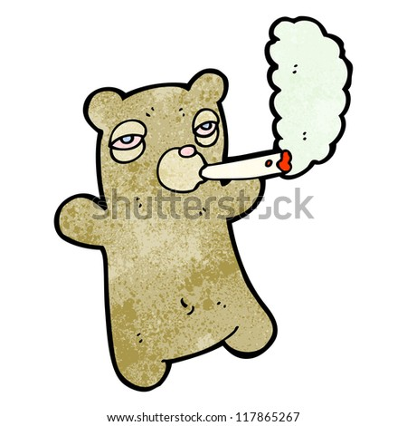 Cartoon Bear Smoking Marijuana Stock Vector Illustration 117865267