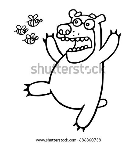 cartoon bear was afraid of