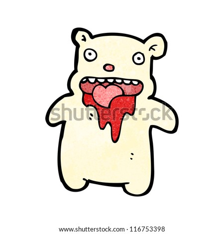 cartoon bear with bloody mouth