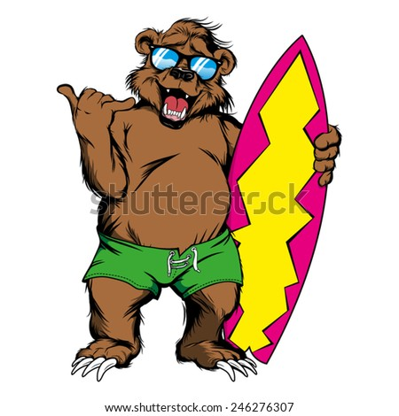 cartoon bear with surfboard