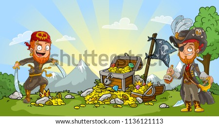 Cartoon bearded pirates character in hat with rum, sword, pistol and treasure chest with diamonds, gold coins and black flag. On nature landscape background.