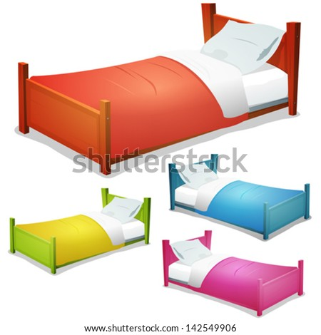 Cartoon Bed Set/ Illustration of a set of cartoon wood children beds for boys and girls with pillows and cover